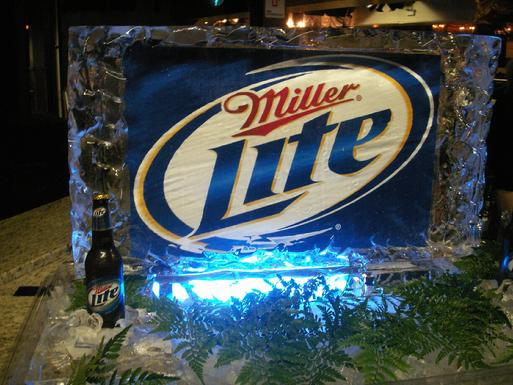 Miller Lite logo world class ice sculpture.com